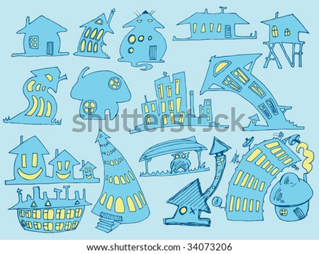 blue doodle houses - stock vector
