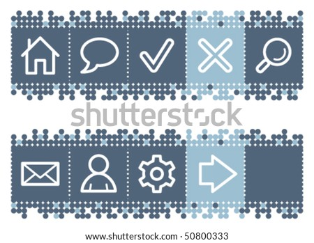 Blue dots bar with basic web icons