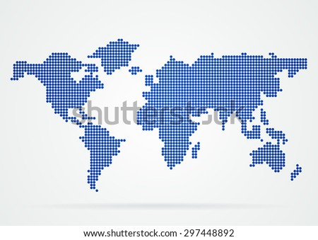 Blue dots world map,World map technology.- Vector illustration.