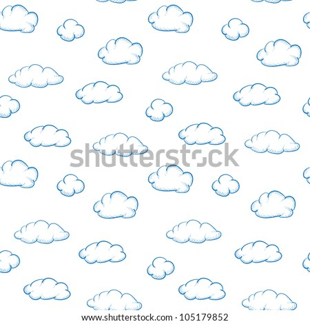 Cloud Texture Drawing Blue Drawing Clouds on a White