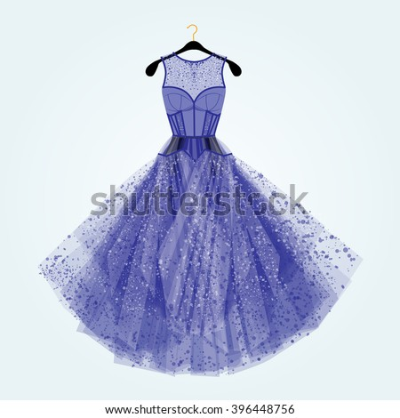 Blue dress with rhinestones. Fashion illustration. Blue dress for special event.