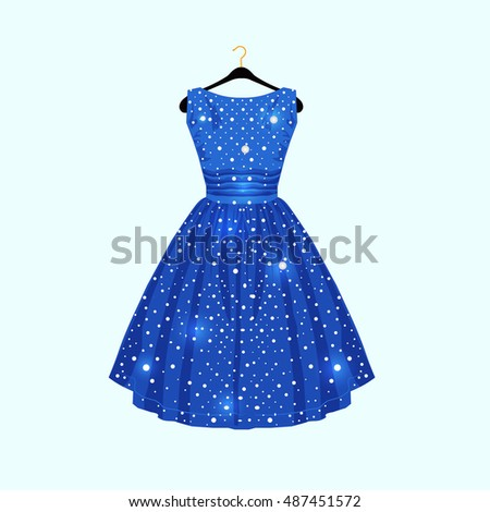 Blue dress with white dots. Vector fashion illustration.