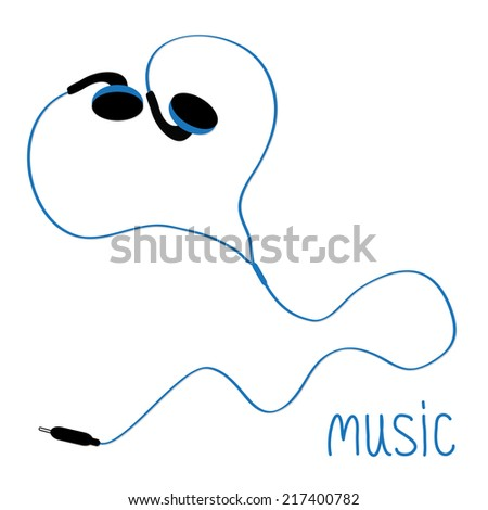 Blue earphones cord in shape of heart. Flat design. Music card. Vector illustration - stock vector