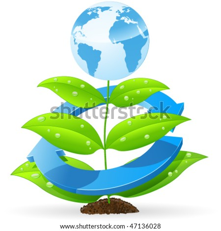 blue eart on green plant - vector illustration - stock vector