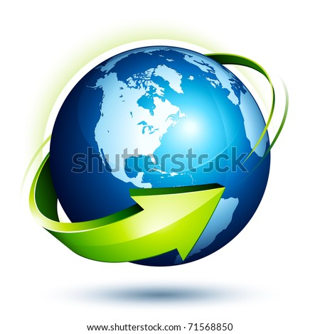 blue earth and green arrow - stock vector