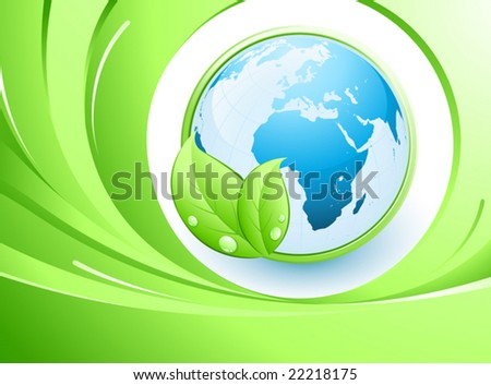Blue earth and leaves - stock vector
