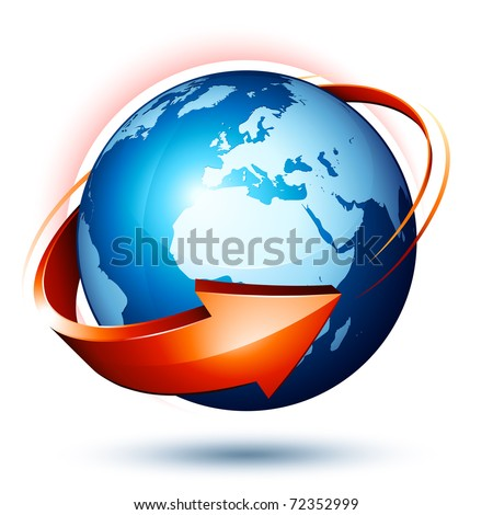 blue earth and red arrow - stock vector