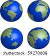 Blue Earth globes set on white background illustration vector - stock vector