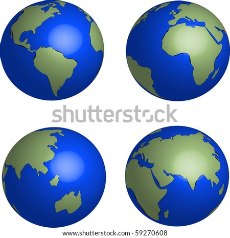 Blue Earth globes set on white background illustration vector - stock vector