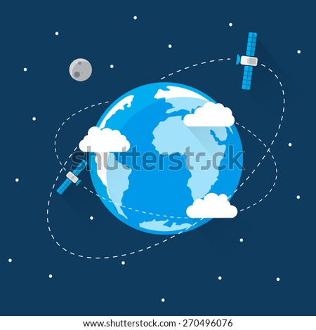 Blue Earth in space Icon Trendy Modern Flat Design Template Vector Illustration - stock vector