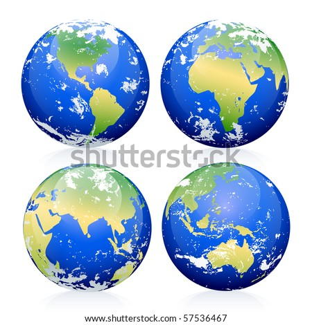 Blue Earth Marbles - stock vector