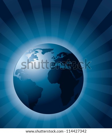 blue earth realistic, ecology background. vector illustration
