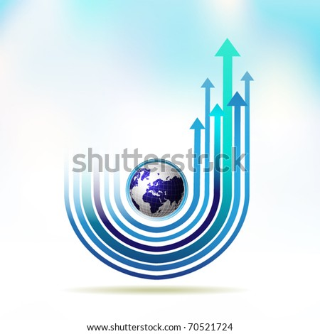 Blue Earth with colored arrow over sky background, vector illustration - stock vector