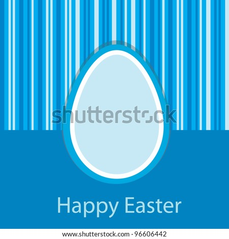 Blue Easter card with one egg. Vector