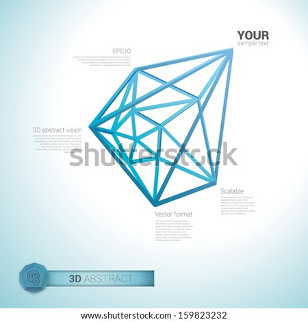 Blue edition of a 3d abstract minimal  edgy pointy lattice network composition, scalable eps10 vector background for infographics, for webdesign, print or for universal use - stock vector