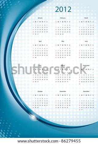 Blue elegant calendar 2012, week starts with sunday, eps10 vector illustration - stock vector