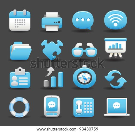 Blue Elegant series | business , internet,office,work icon set - stock vector