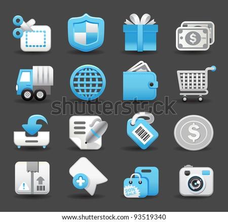 Blue Elegant series | business,travel,shopping icon set - stock vector