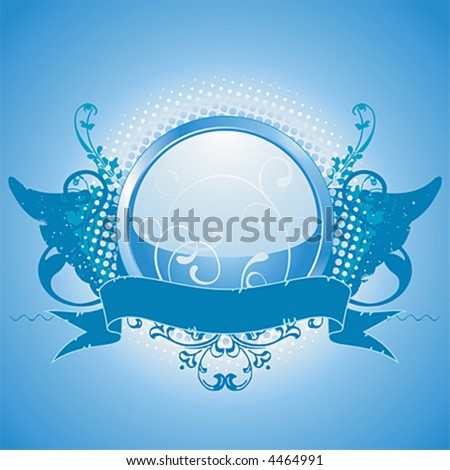 Blue emblem - stock vector