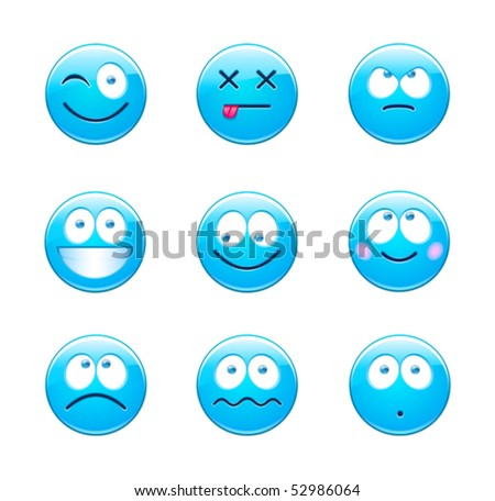 Blue emoticons - stock vector