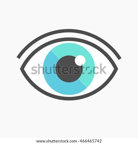 Blue Eye Symbol Icon Vector Illustration Stock Vector 466465742