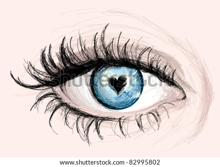 Blue EYE with pupil like Heart / Vector Sketch - stock vector