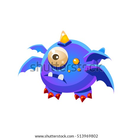 Blue Fantastic Friendly Pet Dragon With Four Wings And One Eye Fantasy Imaginary Monster Collection