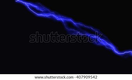 Blue fantasy lightning sparks on a black background - stock vector
