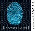 blue fingerprint access granted vector illustration eps10 - stock vector