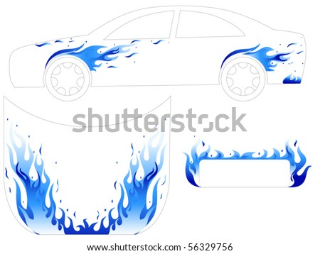 Blue fire car tattoo - stock vector
