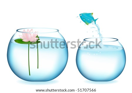 Blue Fish Jumping To Other Aquarium, Isolated On White - stock vector