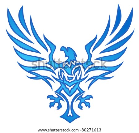 Blue Flame Eagle Tattoo - stock vector