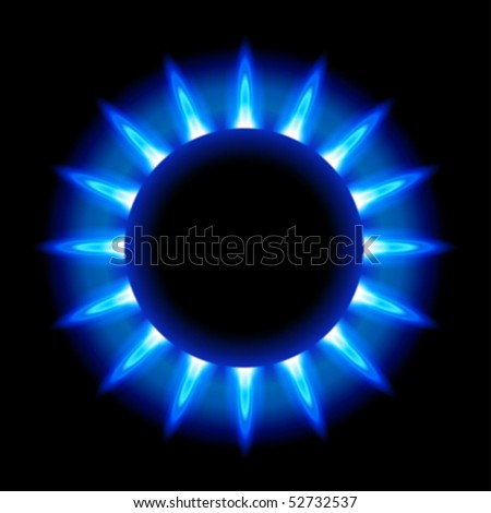 blue flames of a burning natural gas on black background - vector EPS10 - stock vector