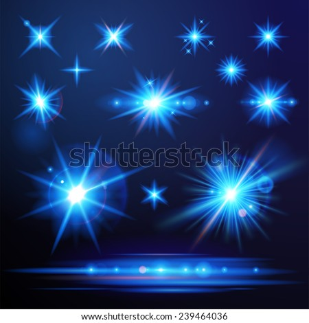 Blue flare lights set for your designs - stock vector