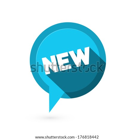 Blue Flat Design Vector Sticker - Label with New Title  - stock vector