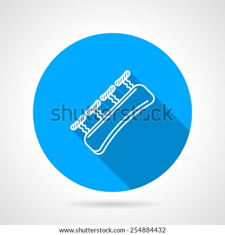 Blue flat vector icon with white contour finger expander for rock climbing on gray background with long shadow. - stock vector