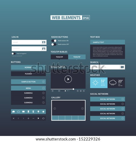 Blue Flat Web Elements / EPS10 Vector Illustration / - stock vector