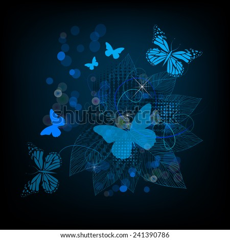 blue floral abstraction with butterflies. Vector  - stock vector