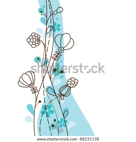 Blue floral background - stock vector