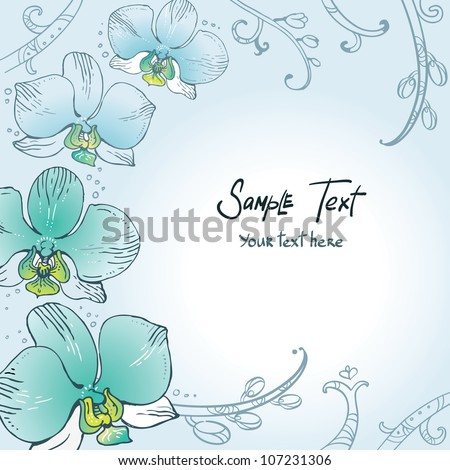 Blue floral background with orchids - stock vector