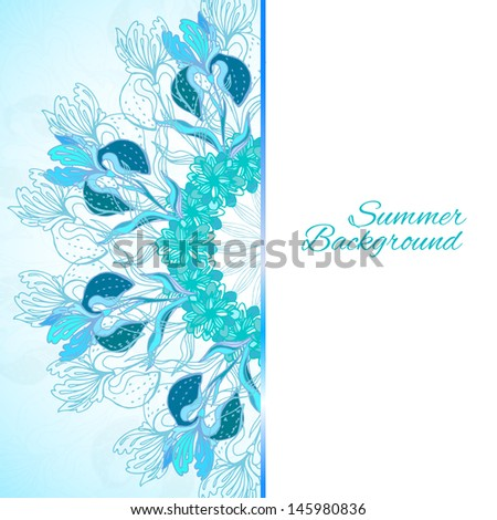 Blue floral ornament mandala background card with doodles iris and vertical place for your text