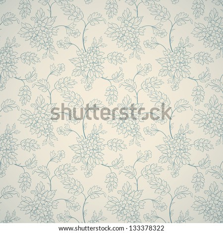 Blue floral ornament on light background - stock vector