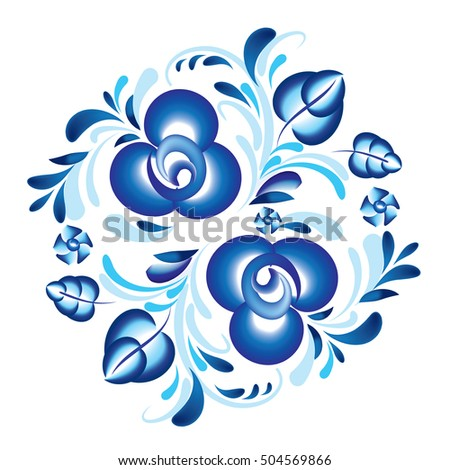 Blue floral patern in Russian gzhel style