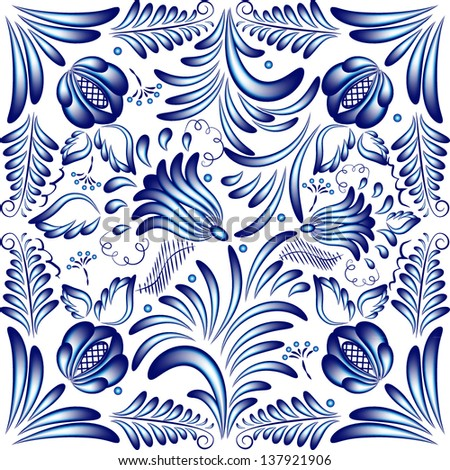 Blue floral pattern in gzhel style. Vector illustration - stock vector