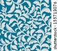 Blue floral pattern with decorative elements for background or wallpaper design. Jpeg (bitmap) version also available in gallery - stock photo
