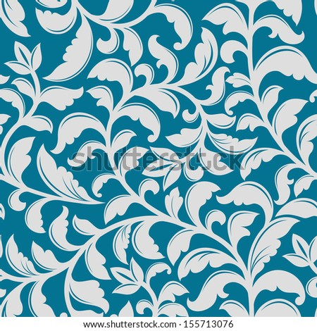 Blue floral pattern with decorative elements for background or wallpaper design. Jpeg (bitmap) version also available in gallery - stock vector