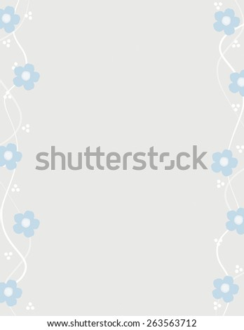 Blue flower pattern over gray color background - stock vector