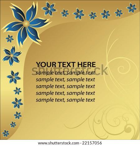 Blue flower whit golden background - stock vector