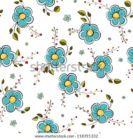 Blue Flowers Seamless Pattern. Blue flowers pattern. EPS 10. No effects used. - stock vector