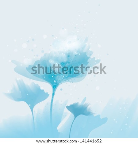 Blue flowers under the surface / Abstract blooms from water - stock vector